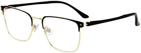 アンチブルー抗疲労コンピュータ老眼鏡メンズカードリーダーゴールドブラック+ 1.5