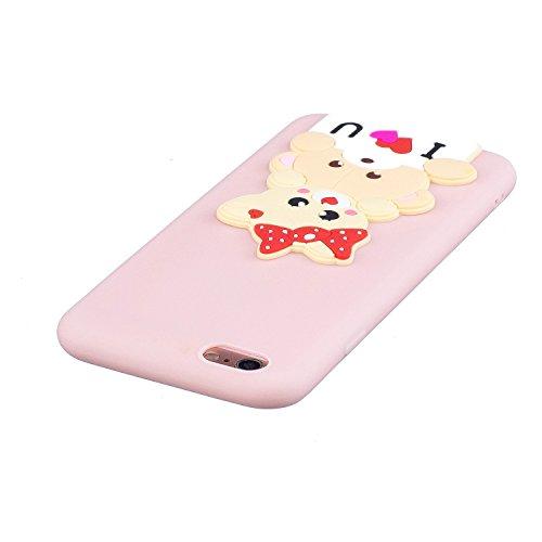 iPhone 6 / 6S Plus Hülle , Leiai 3D Schöner Bär Leicht TPU Weich Tasche Schutzhülle Silikon Etui Handyhülle Stoßdämpfende Schale Fall Case Shell für Apple iPhone 6 / 6S Plus