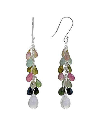 Dangling Tourmaline Earrings - Multi Tourmaline Crystal Quartz Dangling Solid 925 Sterling Silver Earrings