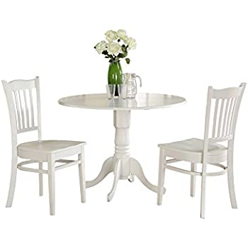 East West Furniture DLGR3 WHI W 3 Piece Kitchen Table Set, Linen White  Finish