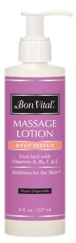 Bon Vital Deep Tissue Massage Lotion for Deep Muscle Manipulation & Soreness Relief, 8 Ounce - Oil Tissue Deep