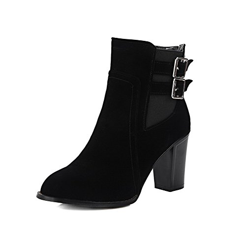 AllhqFashion Womens Imitated Suede Low Top Solid Zipper High Heels Boots Black