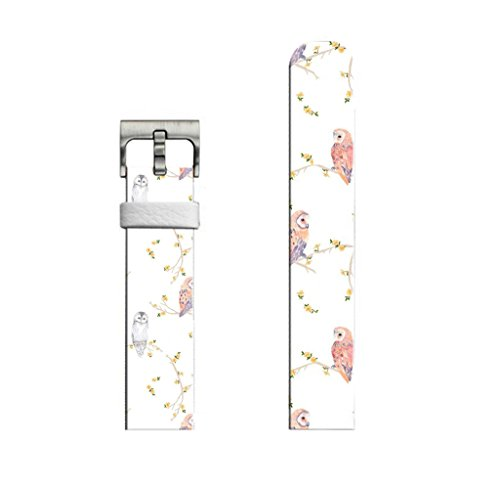 (22mm Leather Watch Strap & Band for Samsung Gear S3 Classic/Frontier/for Galaxy Watch 46mm/for Zenwatch 1/2 1.63/for LG Urbane/for Pebble Steel Beautiful Lovely Cute On Flower Trees Pattern Animal)