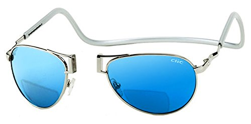 Clic Aviator Polarized Bi-Focal Reading Sunglasses in Silver w/ Blue Mirror Lens - W/bifocals Sunglasses