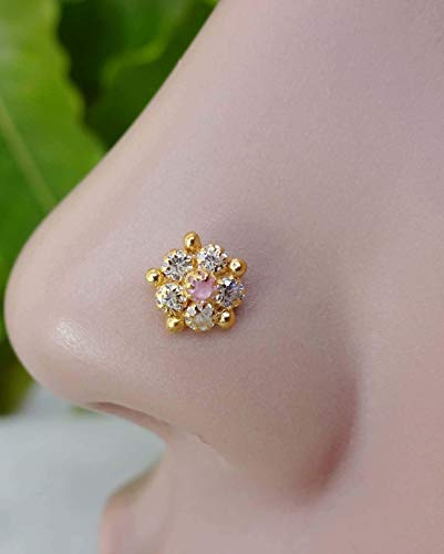 - Nose Hoop,Gift For Her,Ruby Flower Nose Stud,Tinny Nose Stud,Gold Nose Piercing,Indian Nose Stud,Back Screw Nose Stud,Mother Day Sale,5 MM Nose Stud,22K Gold Nose Stud,Indian Nose Jewelry(TEJ866)