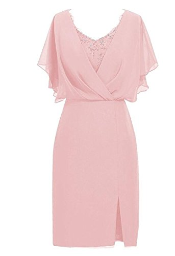 VaniaDress Women V Neck Beading Short Evening Dress Formal Gown V087LF Blush US17W from VaniaDress