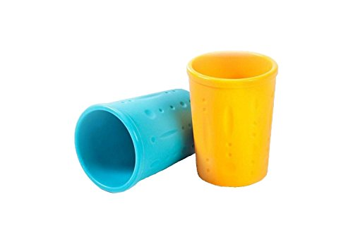 Kinderville Bigger Bites Silicone Cups, Set of 2 in Blue/Orange