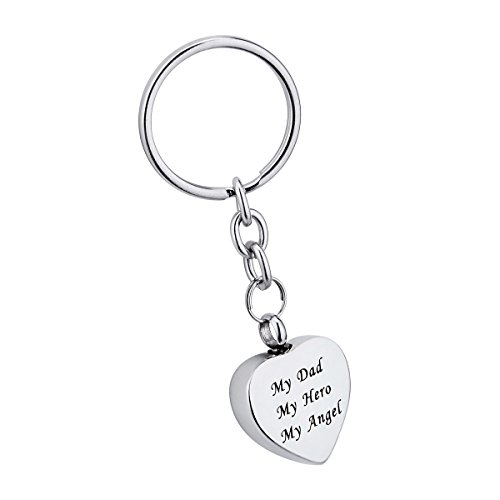 Personalized Heart Charm Ring (My Dad My Hero My Angel Heart Pendant Cremation Urn Keychain Memorial Keepsake Ashes Jewelry)