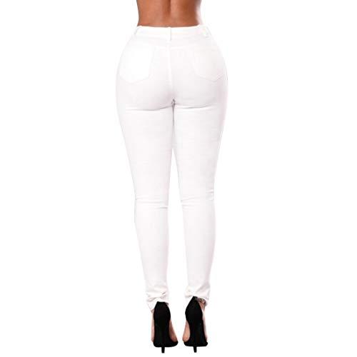 Aiweijia Femmes Taille Haute Classique brod Mode rtro serr Skinny Denim en dtresse dchir Poche Pantalon Jeans Blanc