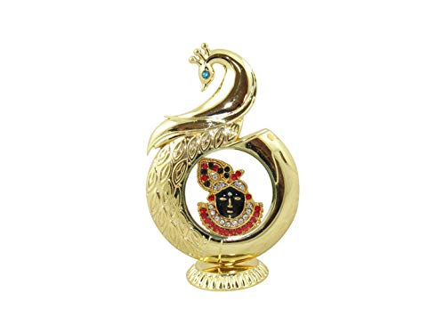 GoldGiftIdeas 24K Gold Plated Peacock Shape Shreeji Idol for Car Dashboard and Home Decoration, Return Gifts for Baby Shower and Indian Festival]()