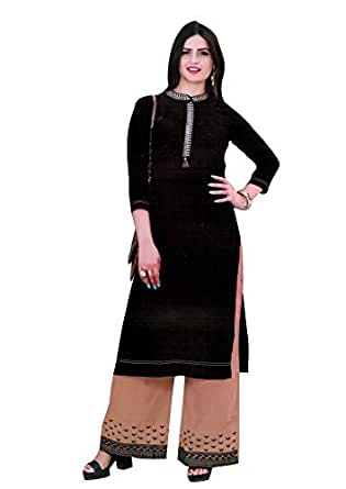 Ladyline Womens Plain Kurta with Palazzo Pants Indian Kurti Tunic - Black - Garment Size-38; Body Chest-34
