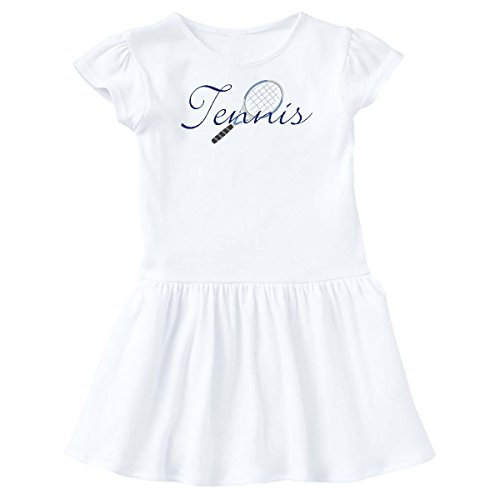inktastic Tennis Sports Racquet Toddler Dress 4T White