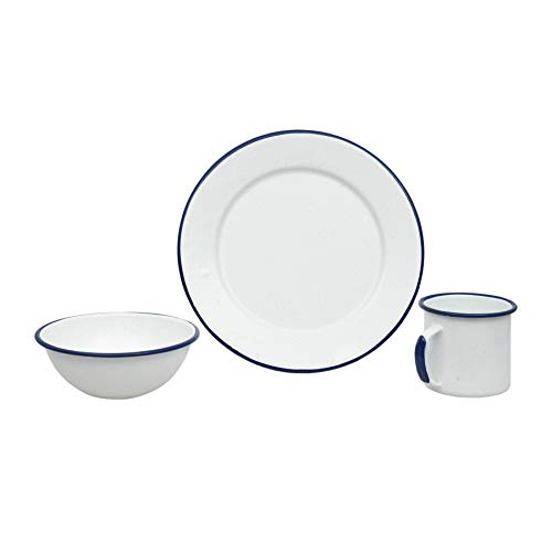 GraniteWare Casual Living 12 Piece Dinnerware Set - White/Blue Porcelain Enameled - Oz Dinnerware 12