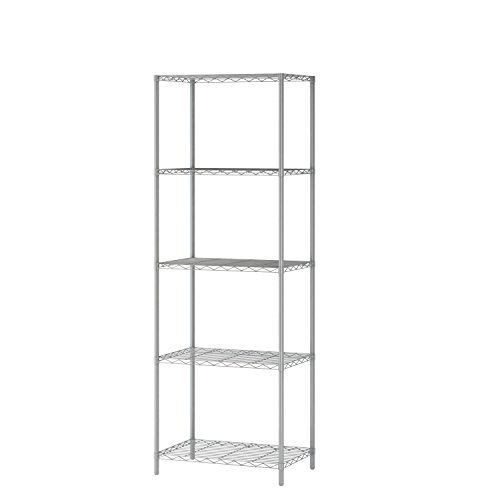 (MULSH 5-Tier Wire Shelving Metal Wire Shelf Storage Rack Durable Organizer Unit Perfect for Kitchen Garage Pantry Organization in Grey,21'Wx14 Dx62 H)