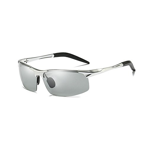 MINCL/Polarized Photochromic Lens Sunglasses Driving Cycling Semi Frame Photosensitive Eyewear for Men (silver-photochromatic, - Photochromic Driving Sunglasses