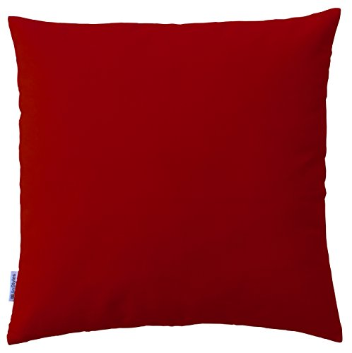 JinStyles Solid Red Cotton Canvas Decorative Throw Pillow Co
