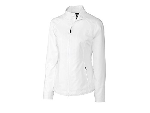 (Cutter & Buck LCO01211 Womens Weathertec Beacon Full Zip Jacket, White-L )