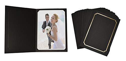 Golden State Art, Pack of 100, Black Cardboard Photo Folder for 5x7/4x6 Pictures - Great for Portraits, Wedding/Graduation/Family/Baby Photos