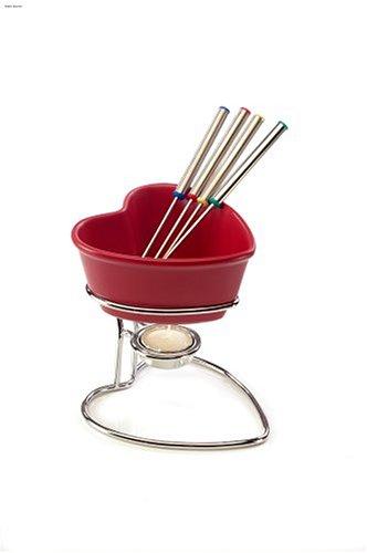 Chantal Heart Semi-Gloss Fun Fondue Set, Red