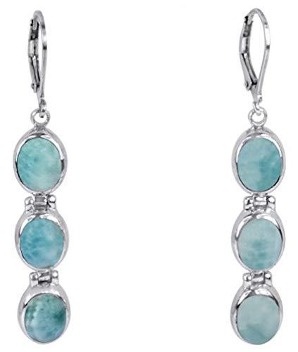 Sterling Silver Triple Oval Larimar Dangle Earrings (BTS-NEA3059/LR/R) ()