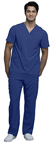 - Cherokee Infinity Men's V-Neck Top with Certainty CK900A & Drawstring Cargo Pant CK200A Scrub Set (Antimicrobial) (Galaxy Blue - Large/Large)