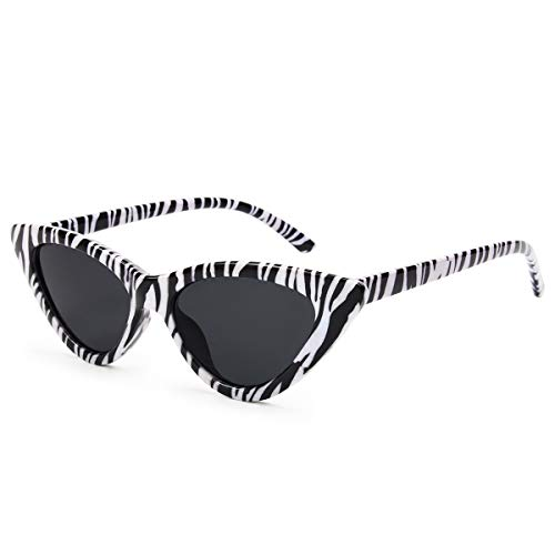 Livhò Retro Vintage Narrow Cat Eye Sunglasses for Women Clout Goggles Plastic FrameZebra Pattern)