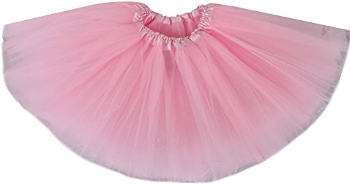 Simplicity Girls' Tutu Layer Tulle Ballet Skirts w/ Elastic Waist, Light Pink (Pink Dance Costume)