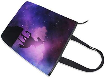 BKEOY Grand sac à main à bandoulière Licorne 3D Space Night Sac fourre-tout zippé