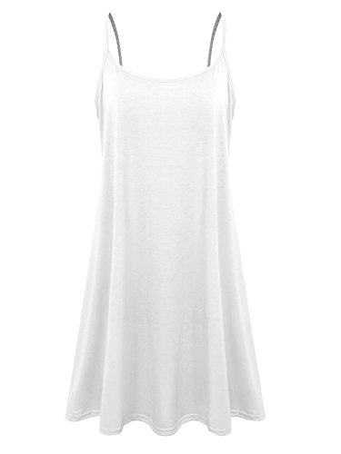 Plus Size Women's Casual Spaghetti Loose Swing Slip Summer Dress Sundress (White,1X)