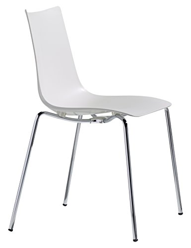 Zebra Techno Polymer Modern Stackable Dining Chair with Chrome Legs, Linen White - Parada One Design 2615 11