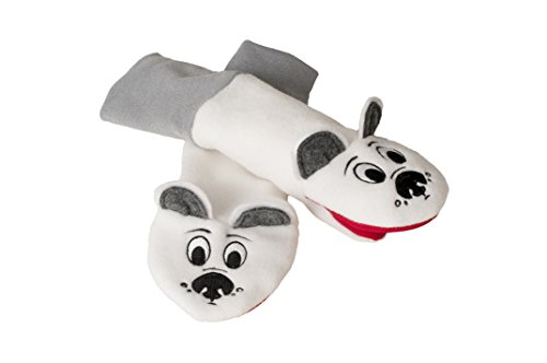 Stay On Sputtens Sock Puppet Mittens, Water Resistant Fleece, White, Miles & Winter LARGE (For young kids. measure 13 in. from fingertips to elbow)