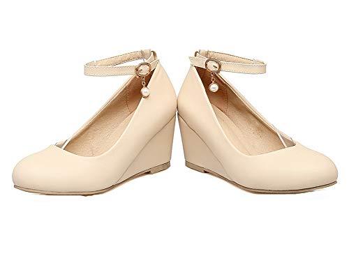Légeres AalarDom Couleur Boucle Unie PU Chaussures à Beige TSFDH005673 Cuir Correct Talon Femme v5vw0nqrT