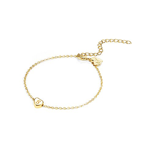 Fettero Gold Initial Heart Ankle Bracelet,14K Gold Plated Handmade Dainty Personalized Charm Tiny Heart Barefoot Jewelry Anklets for Women Initial S