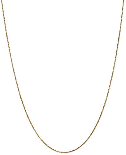 ICE CARATS 14k Yellow Gold 1mm Solid Spiga Chain Necklace 24 Inch Wheat Fine Jewelry Gift Set For Women Heart by ICE CARATS (Image #1)