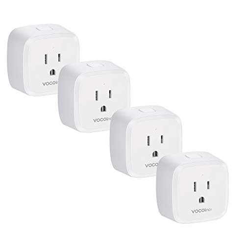 VOCOlinc Smart Wi-Fi Plug Outlet Socket, Upgraded Works with Apple HomeKit Alexa and Google Assistant Compatible, Energy Monitoring , Adjustable Night Light, No Hub Required, 2.4GHz, PM1 4 Pack