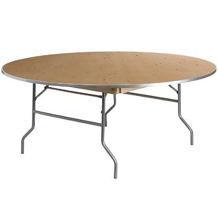 Flash Furniture 72u0027u0027 Round HEAVY DUTY Birchwood Folding Banquet Table With  METAL Edges