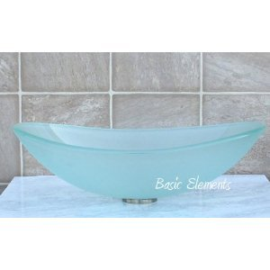 Bathroom Frosted boat Oval Glass Vessel Vanity Sink TB12F (Oval Vanity Sink)