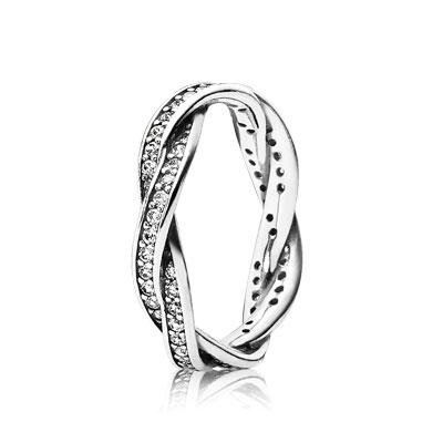 Pandora Twist of Fate Braided Pave Silver Size 6 Ring 190892CZ-52