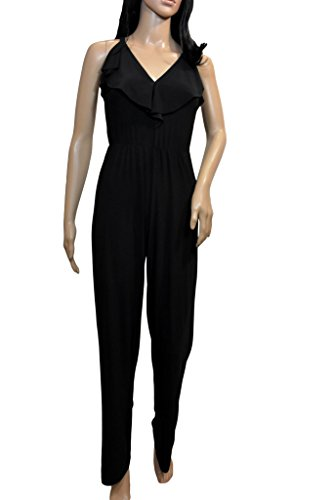 bebe Women's Ruffle Cross Back Jumpsuit, Black, - Romper Bebe