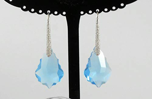 Silver earrings Swarovski Crystal Pure 99.9 plated 4 Microns thickness Jewelry Drop Earwire French Hook Dangle Elements for Women Valentine Mother's day Bridal bridesmaid Business gift Turquoises
