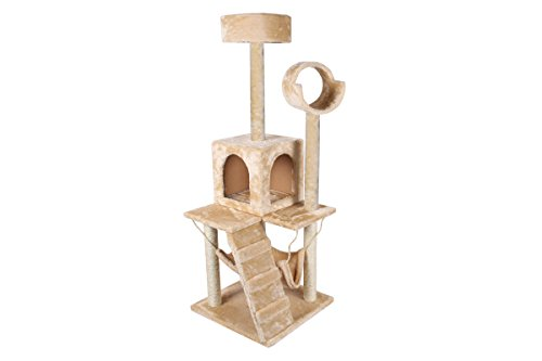 TMS 52 Inch Deluxe Cat Tree Tower Condo Hammock Scratcher Post Furniture Kitten Pet House (12' Paper Printed)