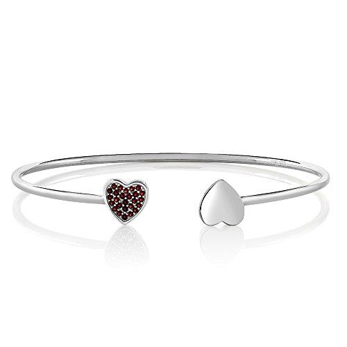 Christmas Gifts Sterling Silver Natural Red Garnet Flexible Open Bangle Wrap Bracelet (Garnet Set Bracelet)
