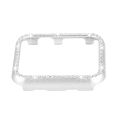 Apple Metal Plates - Fashion Metal Case with Bling Crystal Diamonds Plate Protective Cover Ultra Thin Bumper for Watch 38mm/42mm Series 1/2/3(Best 3D Bling Gift for Your iWatch) (Silver, 38 mm)