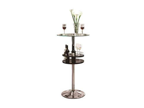 - Bar Table with Tempered Glass Top and Storage Black
