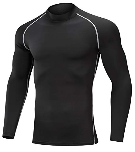 SILKWORLD Men's 3 Pack Compression Shirt Dry Fit Long-Sleeved Sports Baselayer (SW82_1 Piece: Black(White Stripe), XX-Large (Fit Chest 38.5''-42'')) by SILKWORLD (Image #1)