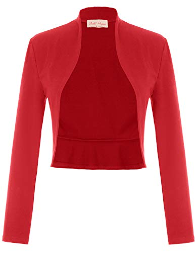 Open Front Cropped Bolero for Party(L,Red)