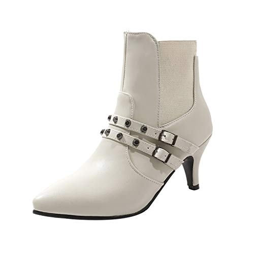 TnaIolral Women Boots Wild Belt Buckle Single Rivet Stiletto Ankle Shoes White