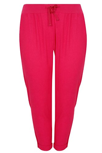 Womens Hot Linen Mix Pull On Tapered Trousers With Pockets Plus Size 16 To 36 Size 24 Pink Pink Linen Mix