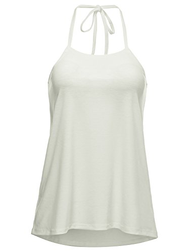 Regna X Women's V Neck Summer Blouse cami Straps Sleeveless Tank Tops White 2XL