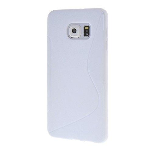 MEIRISHUN Caja del Teléfono Celular Caso Funda, Soft TPU Protector Case,Anti-scratch Silicone Back Cover Contraportadapara Samsung Galaxy S6 edge+ [Gris] Blanco